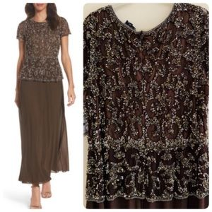 Pisarro Nights Gown Mocha Brown Beaded Sequin